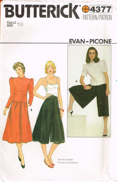 4377 Pattern Vintage Butterick Ladies Culottes Blouse choose size 10 or 12 or 14