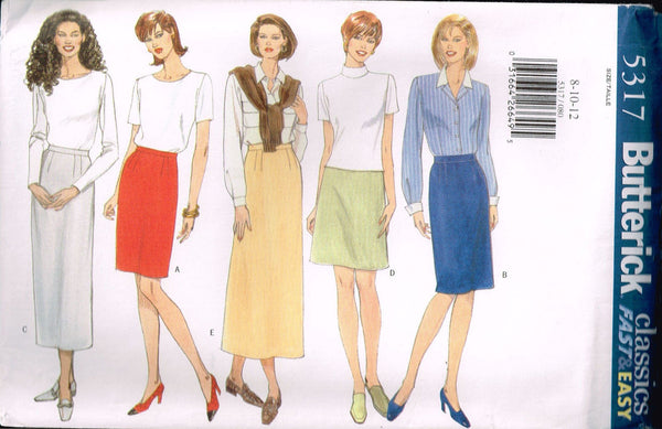 *5317 Sewing Pattern Butterick Ladies Skirt with Variations 8-10-12 or 14-16-18