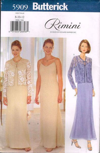 5909 Sewing Pattern Butterick Ladies Dress and Jacket by Rimini 8 10 12
