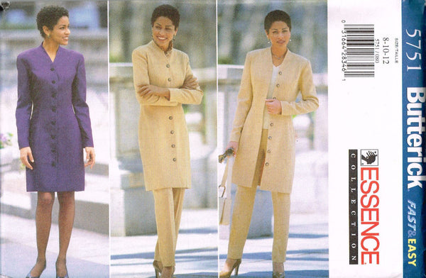 5751 Sew Pattern Butterick Ladies Button Front Dress or Coat  8-10-12 or14 16 18