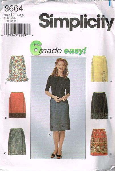 *8664 Sewing Pattern Ladies Skirt with Variations 4-6-8 or 10-12-14 or 16-18-20