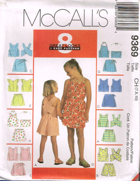 9369 Sewing Pattern Girls Summer Shorts Outfit 7 8 10