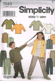 7043 Sewing Pattern Kids Top Vest Cargo Pants 3-4-5-6 or 7-8-10-12-14