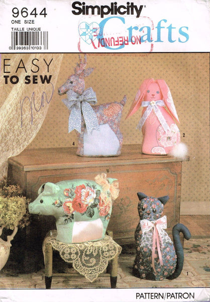 9644 Sewing Pattern Bunny Rabbit Pig Cat Deer Duck Stuffed Animal