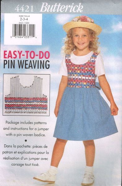 4421 Sewing Pattern Butterick Girls Easy Pin Weaving Jumper 2-3-4 or 5-6-6X