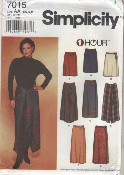 7015 Sewing Pattern Ladies One Piece Wrap Skirt w/ Variations XS-S-M