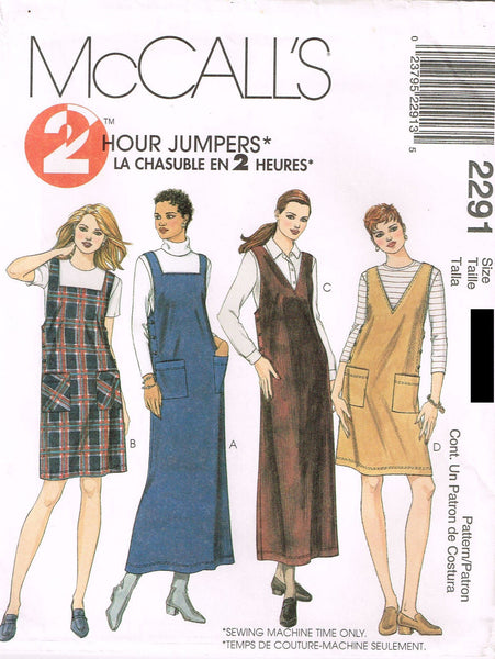 *2291 Sewing Pattern Ladies Jumper Dress 4-6-8