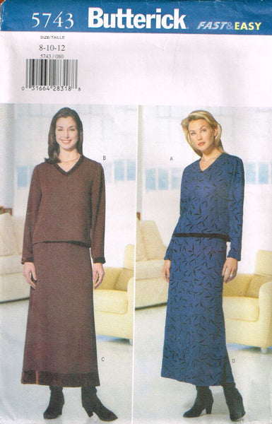5743 Sewing Pattern Butterick Ladies Skirt and Top  Choose 8-10-12 or 14 16 18