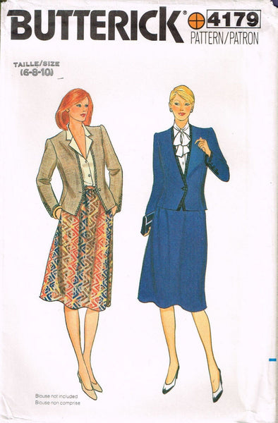 4179 Sewing Pattern Vintage Butterick Ladies Jacket & Skirt 6-8-10 or 12-14-16
