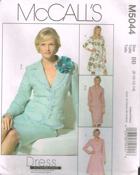 5044 Sewing Pattern McCall's Ladies Dress Jacket Skirt 8-10-12-14 or 16-18-20-22