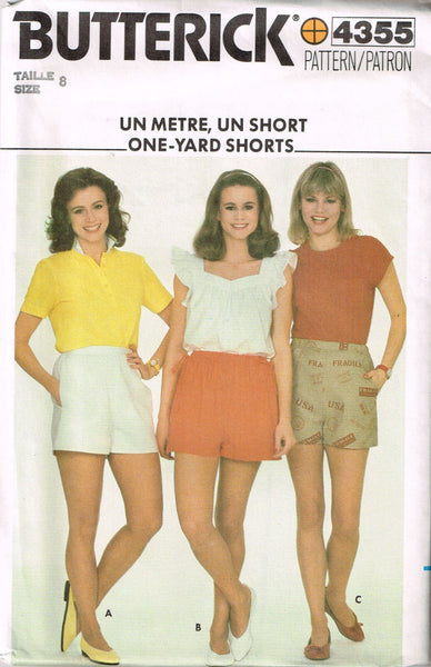"4355 Sew Pattern Vintage Butterick ""One Yard"" Ladies Shorts 8 or 10 or 12 or 14"