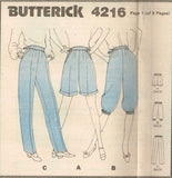 4216 Sewing Pattern Vintage Butterick Pants Shorts 10 or 12