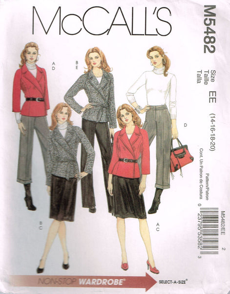*5482 Sew Pattern McCall's Ladies Jacket Pants Skirt 14-16-18-20 +