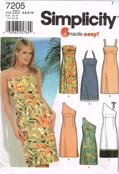 7205 Sewing Pattern Ladies Off Shoulder or Halter Dress 4 6 8 10