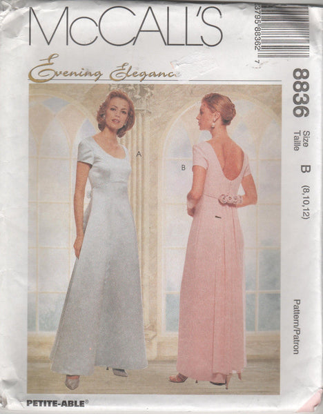 8836 Sewing Pattern McCall's Evening Gown w Detachable Train 8 10 12