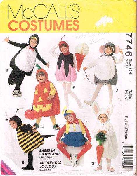 * 7746 Sewing Pattern McCall's Kids Halloween Costume Mouse Bee Ice Cream 3-4 +