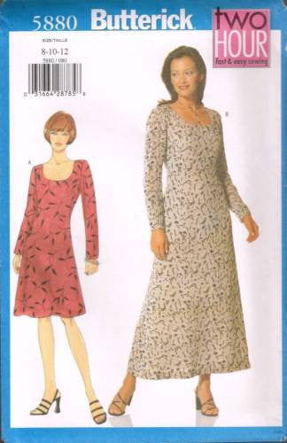 5880 Sewing Pattern Butterick Ladies 2 Hour Dress w Scooped Neckline 8 10 12