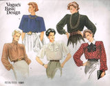 V1581 Sewing Pattern Vogue Ladies Blouse with Shoulder Tucks 14
