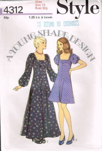 4312 Sewing Pattern Vintage Style A-line Dress 10 *Uncut*
