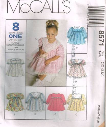 8571 Sewing Pattern McCall's Girls Toddler Dress w Collar Variations 2 3 4