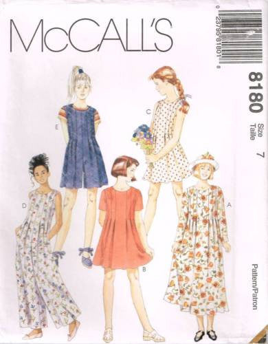 8180 Sewing Pattern McCall's Girls Jumpsuit and Dress w Front Pleats 7