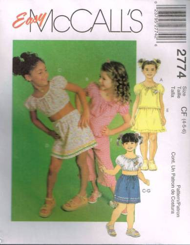 *2774 Sewing Pattern McCall's Girls Top w Elastic casing Skirt or Shorts 4 5 6
