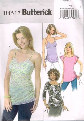 4517 Sewing Pattern Butterick Ladies Camisole w Gathers at the Sides 8 10 12 14