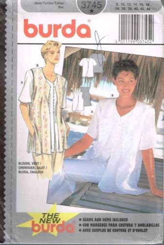 3745 Sewing Pattern Burda Ladies Blouse and Vest 8 10 12 14 16 18