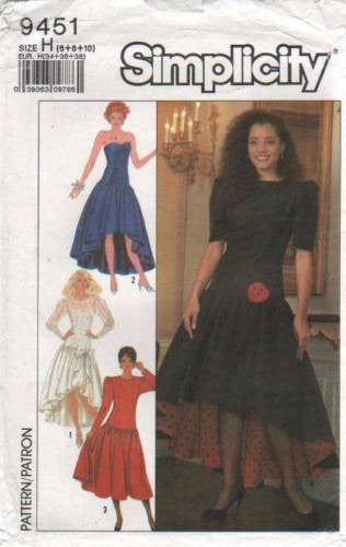 9451 Sewing Pattern Vintage Simplicity Ladies Asymmetrical Skirt Evening Dress 6