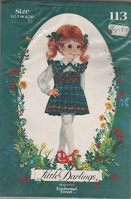 "*113 Sewing Pattern Enchanted Forest ""Little Darlings"" Pleated Jumper 4-6"