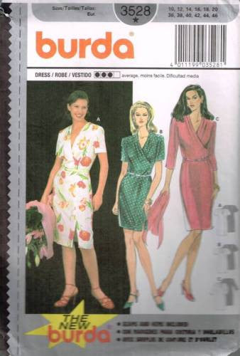 3528 Sewing Pattern Burda Crossover Front Dress 10 12 14 16 18 20