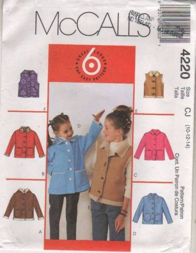 4220 Sewing Pattern McCall's Girls Jacket and Vest 10 12 14