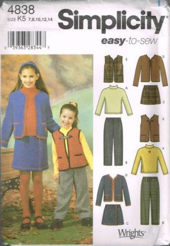 4838 Sewing Pattern Girls School Cothes Top Skirt Pants Vest Jacket 7 8 10 12 14