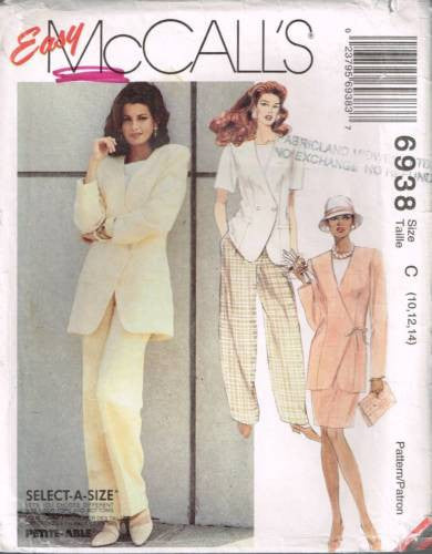 6938 Sewing Pattern McCall's Ladies Easy Jacket Blouse Pants Skirt 10 12 14