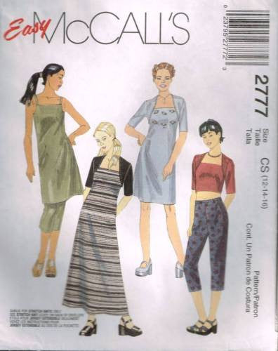 *2777 Sewing Pattern McCall's Girls Camisole Dress Shrug and Capri Pants 12 14 16
