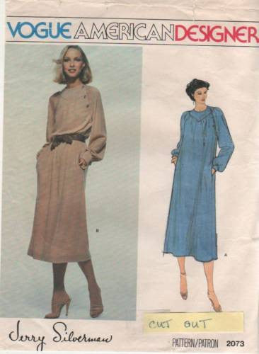 V2073 Sewing Pattern Vogue Designed by Jerry Silverman Ladies Dress 14 *CUT*