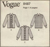8487 Sewing Pattern Vogue Ladies Blouse w Front Tucks 6 8 10