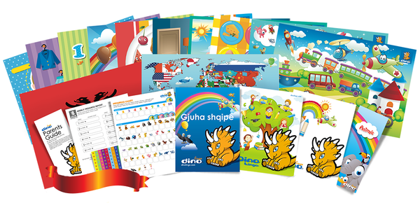 Albanian for kids Poster & Book set - Dino Lingo Checkout