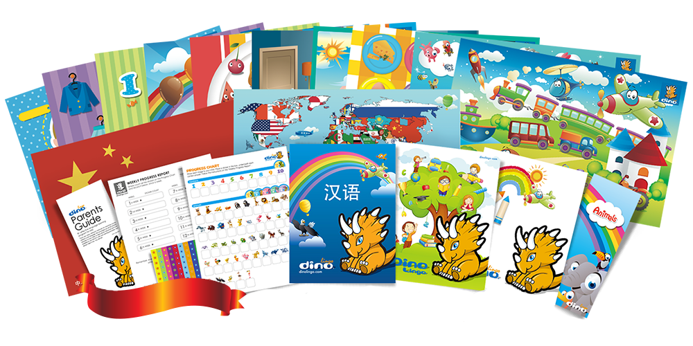 Chinese for kids Poster & Book set - Dino Lingo Checkout