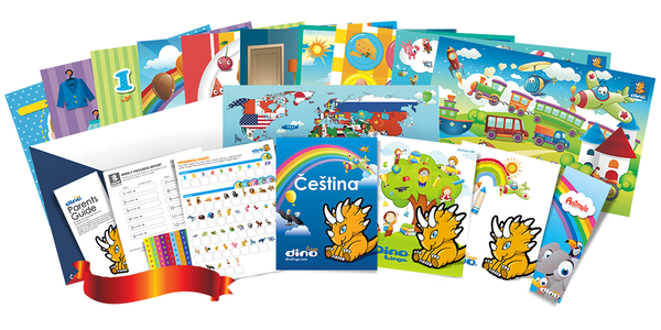 Czech for kids Poster & Book set - Dino Lingo Checkout