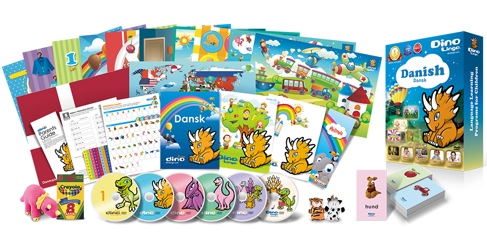 Danish for kids Deluxe set - Dino Lingo Checkout