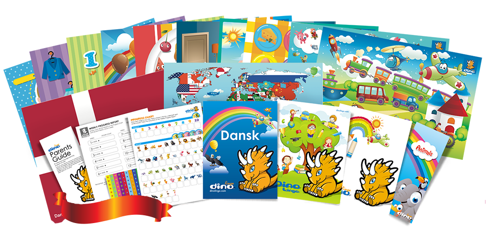Danish for kids Poster & Book set - Dino Lingo Checkout