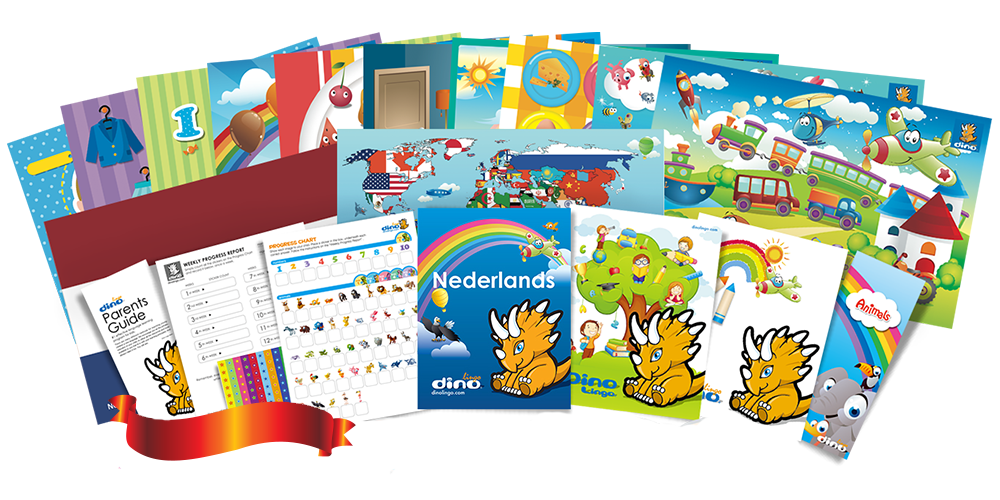 Dutch for kids Poster & Book set - Dino Lingo Checkout