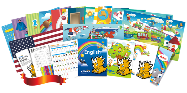 English for kids Poster & Book set - Dino Lingo Checkout