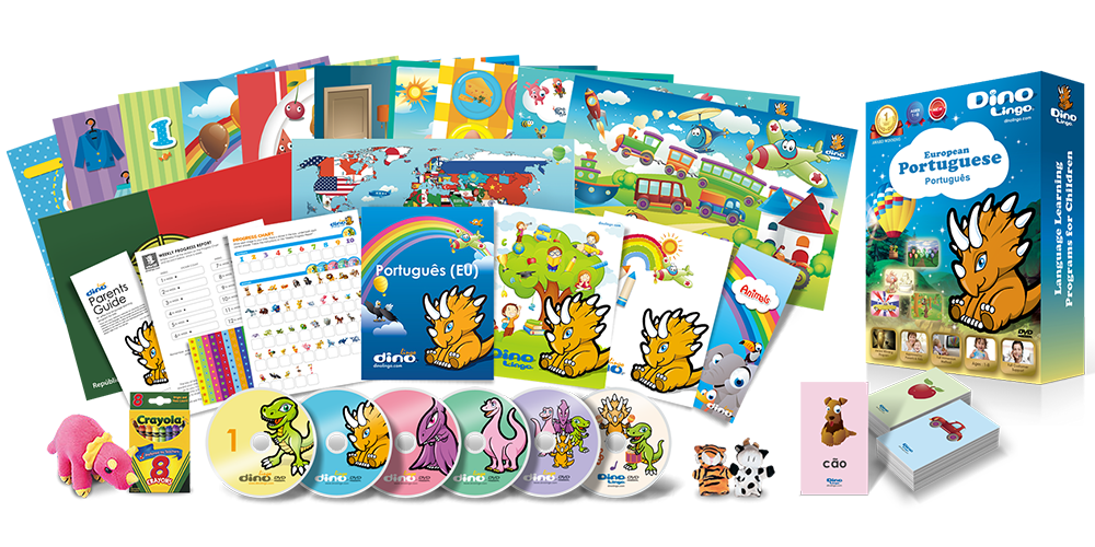 European Portuguese for kids Deluxe set - Dino Lingo Checkout