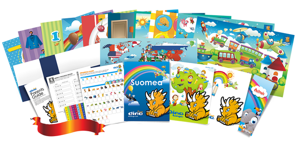 Finnish for kids Poster & Book set - Dino Lingo Checkout