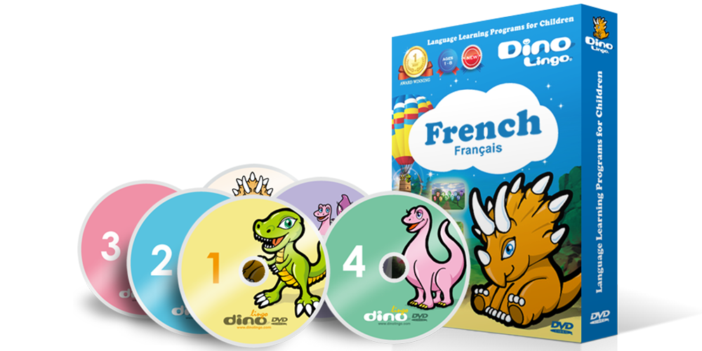 French for kids DVD set - Dino Lingo Checkout