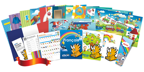 French for kids Poster & Book set - Dino Lingo Checkout