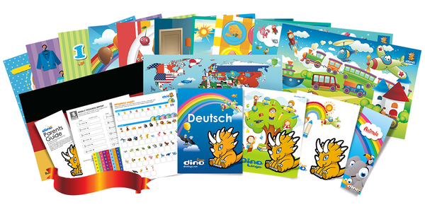 German for kids Poster & Book set - Dino Lingo Checkout