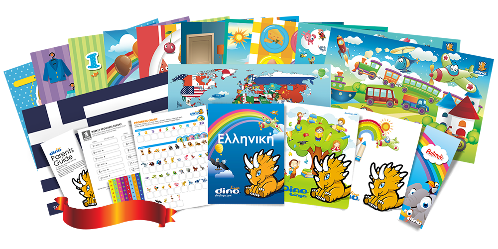 Greek for kids Poster & Book set - Dino Lingo Checkout